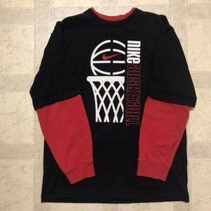 2000s Nike Youth Boys Basketball Vintage Shirt Lar